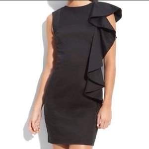 French Connection Black Shoulder Ruffle Dress